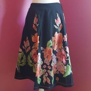 TREVAN Silk & Cotton A-line Skirt
